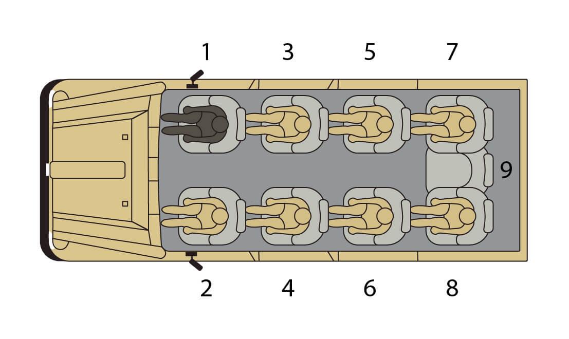 Seating plan for safari car