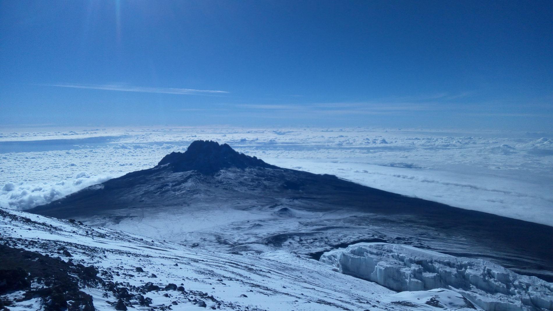 Kilimanjaro climb snow cap